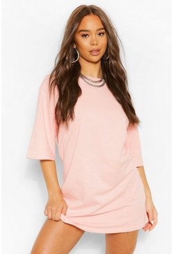 Robe t-shirt coupe oversize à épaules tombantes, Blush rose