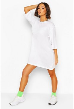 White Drop Shoulder Oversized T-Shirt Dress