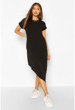 Black Asymmeric Hem Midi T-Shirt Dress
