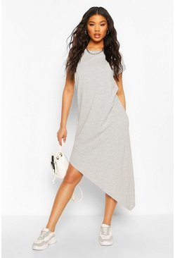 Grey marl grey Asymmeric Hem Midi T-Shirt Dress