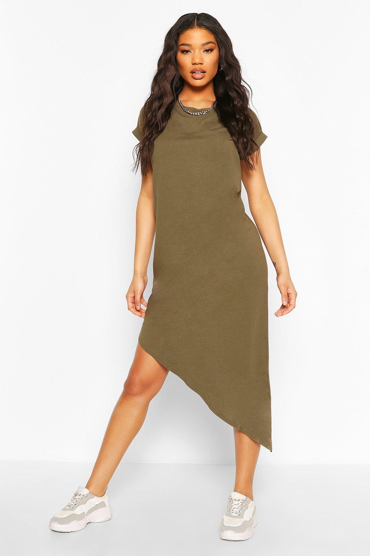 Womens Sale Asymmeric Hem Midi T-Shirt Dress