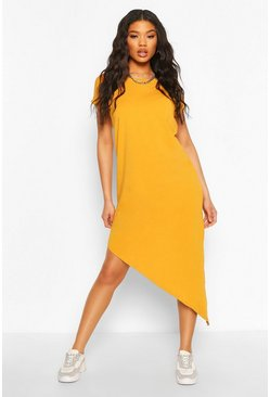 Mustard yellow Asymmeric Hem Midi T-Shirt Dress