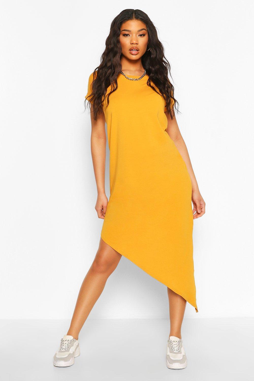 DRESSES Asymmeric Hem Midi T-Shirt Dress