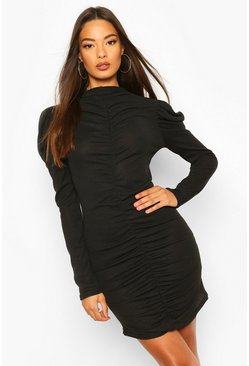Black Rib Rouche Front Mini Dress
