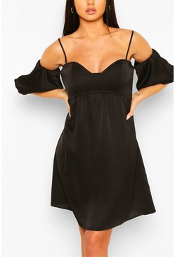 Black Strappy Puff Sleeve Babydoll Swing Dress