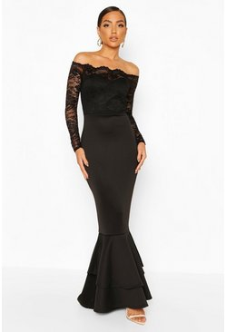 Black Lace Off The Shoulder Frill Fishtail Maxi Dress
