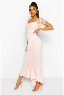 Soft pink pink Lace Bardot Fishtail Maxi Dress
