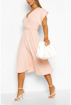 Blush pink Rib Belted Midi Skater Dress