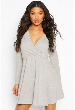 Grey marl grey Long Sleeve Wrap Front Skater Dress