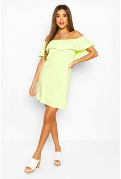 Lime green Off The Shoulder Frill Swing Dress