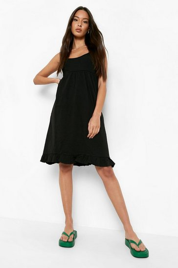 Black Strappy Tiered Smock Dress