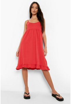 Red Strappy Tiered Smock Dress