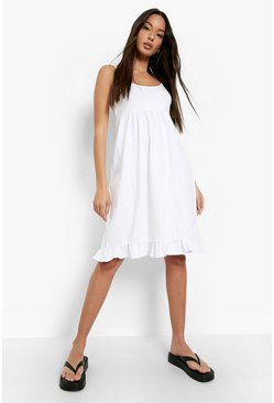 White Strappy Tiered Smock Dress