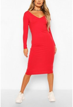 Red Long Sleeve V Neck Bodycon Dress