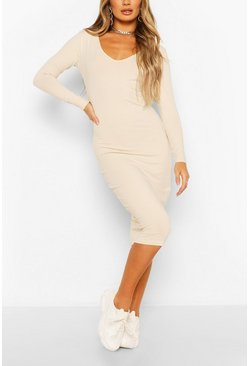 Long Sleeve V Neck Bodycon Dress, Stone Бежевый