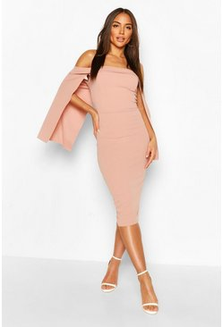 Pink Bandeau Cape Midi Dress