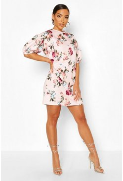 Pink Blurred Floral Print Puff Sleeve Shift Dress