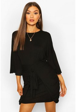 Black Drop Shoulder Tie Detail Jersey Dress