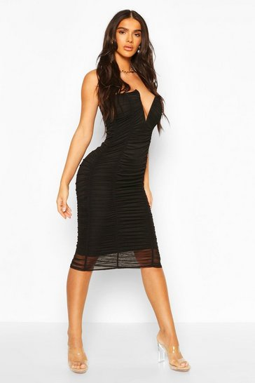 Black Bandeau V Bar Mesh Midi Bodycon Dress