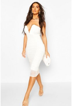 Bandeau V Bar Mesh Midi Bodycon Dress, White bianco