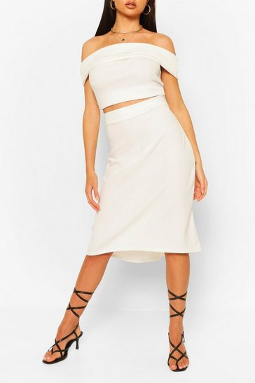 Ivory white Over Layer Bardot Top & Skirt Co-ord Set