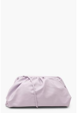 Lilac purple Slouchy Oversized PU Clutch & Strap Bag