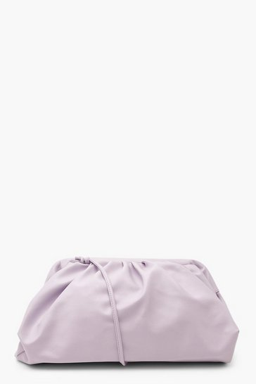 Lilac Slouchy Oversized PU Clutch & Strap Bag