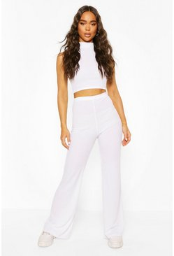 White Ribbed High Neck Top & Flare Pants Two-Piece Set