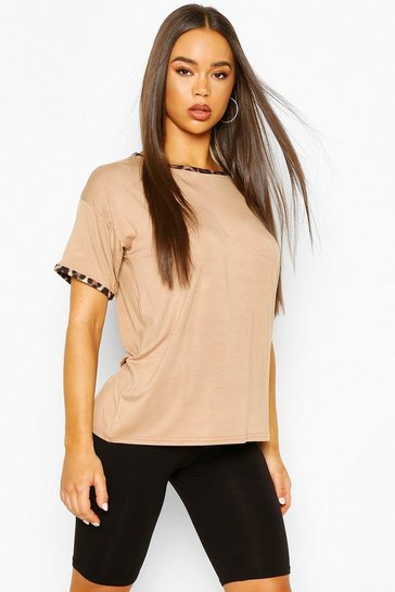 Camel beige Leopard Print Ringer Tee & Cycling Short Co-ord Set