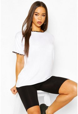 White Leopard Print Ringer Tee & Cycling Short Co-ord Set