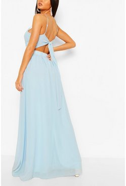 Blue Chiffon Tie Back Maxi Dress