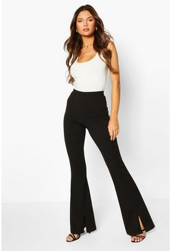 Black Split Hem Flare Trouser