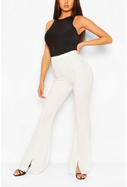 Ivory white Split Hem Flare Pants