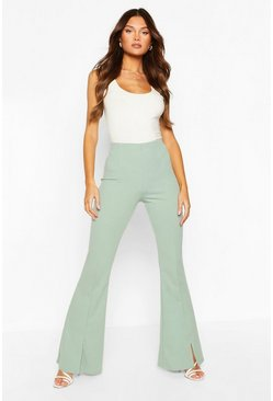 Sage green Split Hem Flare Trouser