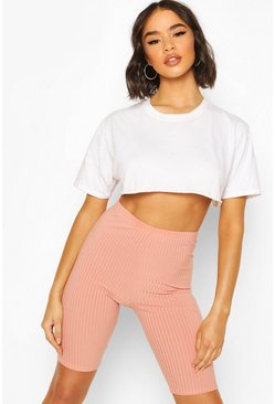 Apricot nude Basic Ribbed Biker Short