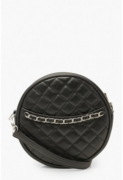 Quilted Round Cross Body Bag & Chain , Black Чёрный