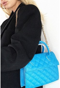 White Quilted Structured Cross Body Bag