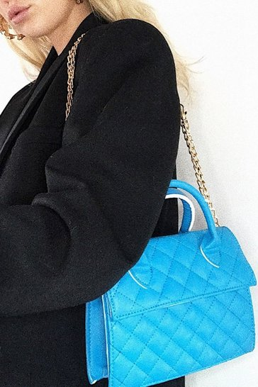Blue Quilted Structured Cross Body Bag