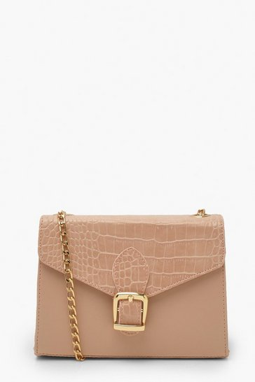 Pink Croc Buckle Detail Cross Body Bag