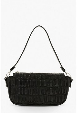 Black PU Ruched Detail Under Arm Bag