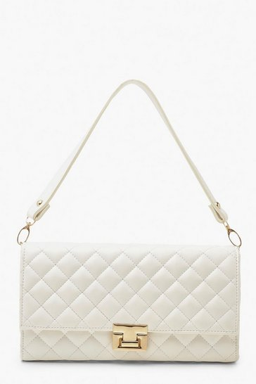 White PU Twist Lock Detail Under Arm Bag