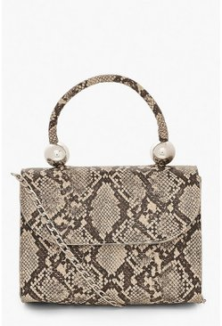 Natural beige Snake PU Structured Handle Bag & Chain