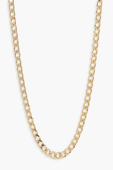 Gold metallic Simple Curb Chain Necklace
