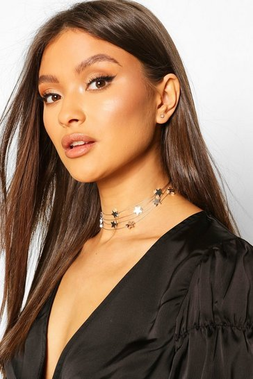 Silver Floating Stars Choker