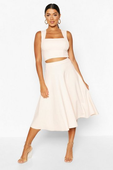 Blush pink Square Neck Crop Top & Midi Skater Co-ord Set
