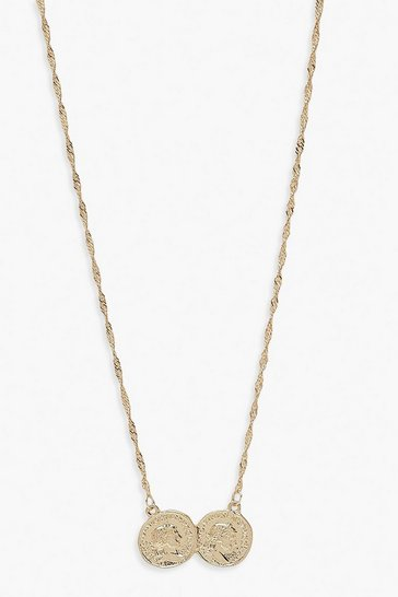Gold metallic Double Coin Necklace