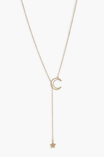 Gold metallic Moon And Star Adjustable Necklace