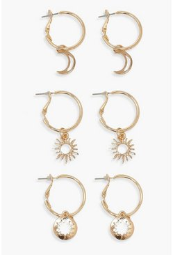 Gold metallic Star Moon & Sun 3 Pack Hoop Earrings