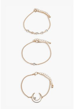 Gold metallic 3 Pack Moon & Diamante Bracelets
