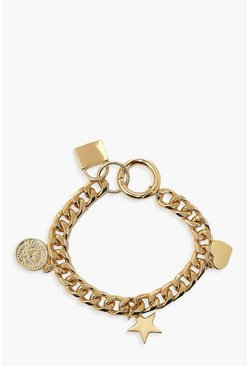 Gold metallic Padlock And Charm Chunky Chain Bracelet
